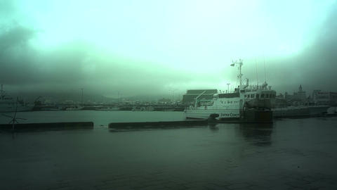 Japan Coast Guard Ship in a Port in Okinawa 01 stylized Stock Video Footage