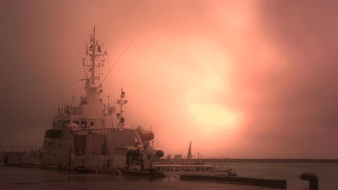 Japan Coast Guard Ship in a Port in Okinawa 04 stylized Stock Video Footage