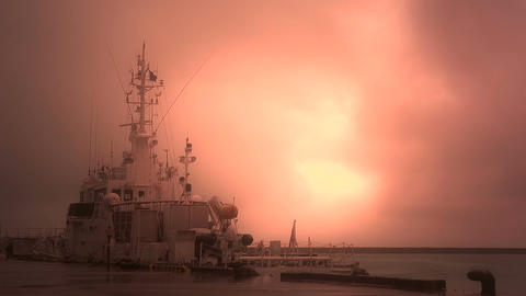 Japan Coast Guard Ship in a Port in Okinawa 04 stylized Footage