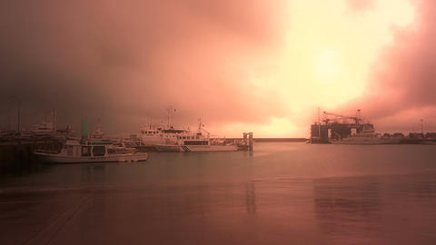 Japan Coast Guard Ship in a Port in Okinawa 05 stylized Stock Video Footage