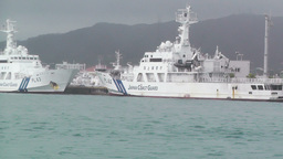 Japanese Coast Guard Ships in Okinawa Islands 01 tracking... Stock Video Footage