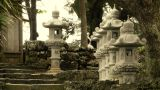 Japanese Shrine in Japanese Garden stylized 03 Footage