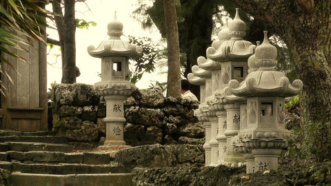 Japanese Shrine in Japanese Garden stylized 03 Stock Video Footage