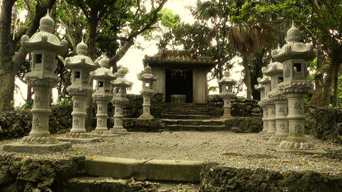 Japanese Shrine in Japanese Garden stylized 05 Stock Video Footage