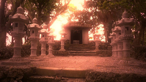 Japanese Shrine in Japanese Garden stylized 11 Stock Video Footage