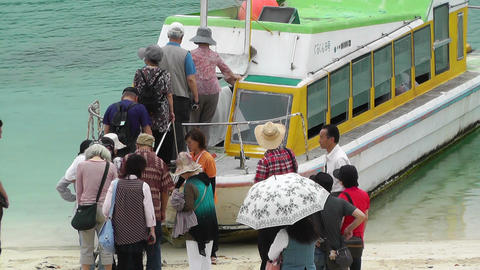 Kabira Beach Bay Ishigaki Okinawa Islands 05 tourists... Stock Video Footage