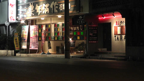 Okinawa Islands Street at Night 12 Stock Video Footage