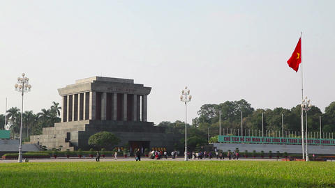 Hanoi Vietnam city with Ho Chi Minh mausoleum and flag 05 Footage