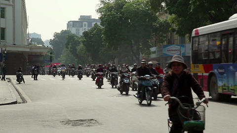 Hanoi Vietnam city streets with traffic and people 03 Footage
