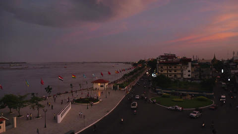 Phnom Penh Cambodia city river timelapse at sunset Footage