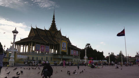Phnom Penh Cambodia city view Royal Palace timelapse Footage