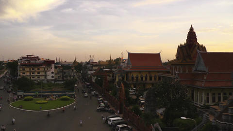 Phnom Penh Cambodia city view monuments and landscape at sunset 07 Footage