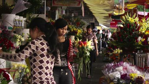 Phnom Penh Cambodia flower market Footage