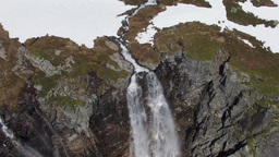 Flying Over Amazing Tall Waterfall In Norway stock footage