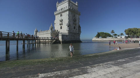 Lisbon, Portugal. September 2015: Belem Tower, a famous masterpiece of the Manue Footage