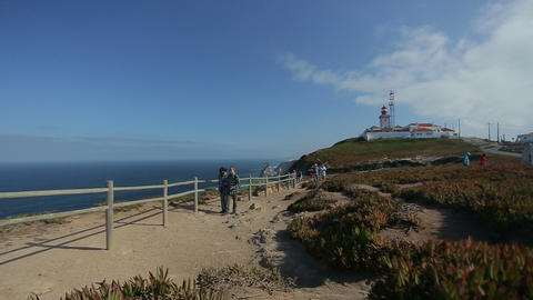 September 2015 Portugal Nice view of a lighthouse with the ocean in Portugal, at Footage
