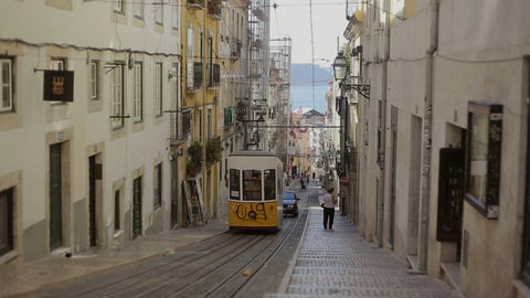 LISBON, PORTUGAL - SEP 15, 2015: Famous Retro Designed Funicular In The Old Town stock footage