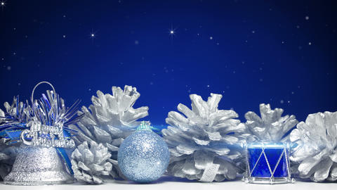 christmas decorations on blue background loop 4k (4096x2304) Footage
