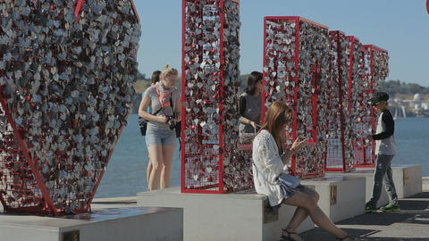 Portugal 2015 September Love Monument Belem Embenkment Tejo A New Tourist Attrac stock footage