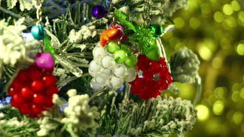 Close-up Of Christmas Tree Decorations Loop 4k (4096x2304) stock footage