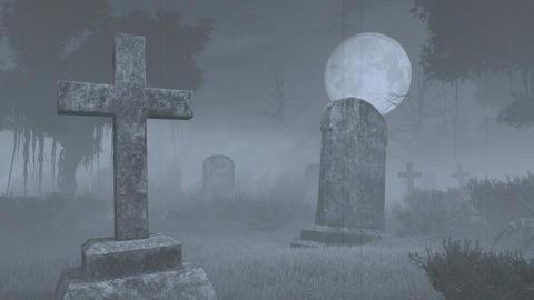 Spooky cemetery under big full moon. Handheld camera effect Footage