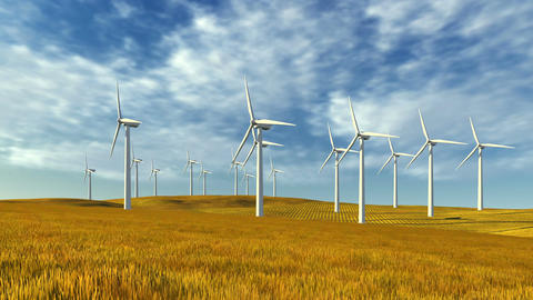 Windfarm on the autumn hills at sunny day Footage