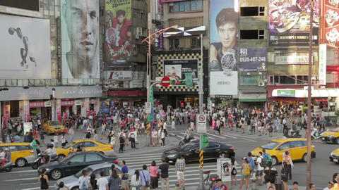 Crowds and traffic at Ximending WS Footage