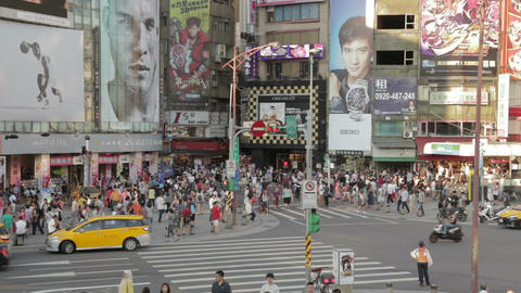 Crowds walking at Ximending WS Footage