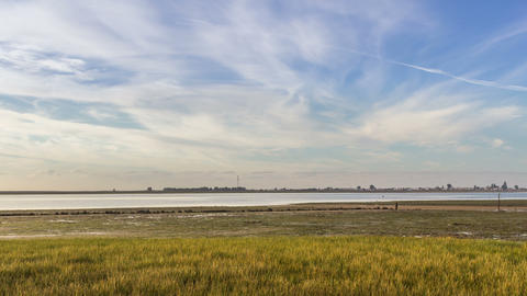 4K Pan Time Lapse seascape, in Ria Formosa wetlands natural park, Algarve Footage
