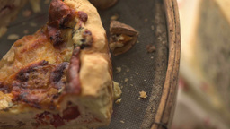 Closeup Of Quiche Lorraine Slice Cut stock footage