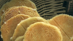 Closeup Of Waffles In Basket stock footage