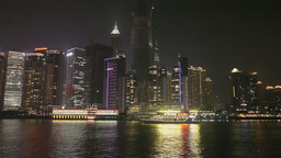 Shanghai Pudong Skyline Viewed From Huangpu River stock footage