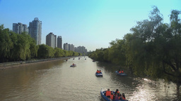 Motorboats On Huangpu River In Shanghai stock footage