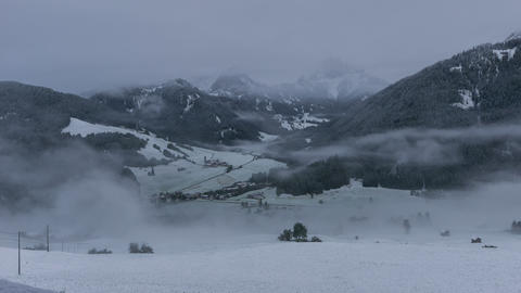 time lapse dancing fog clouds over prags winter valley dolomites 4k 11700 Footage