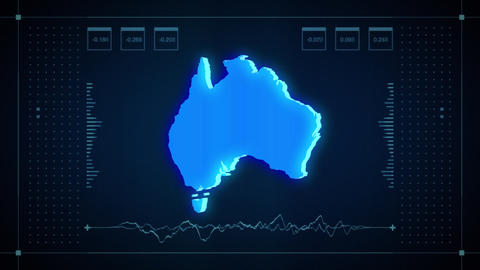 Australia Hologram Map Animation