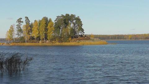 Landscape Lake Sky Island Trees stock footage
