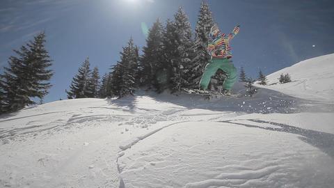 Snowboarder crush in powder snow Footage