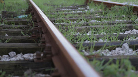 Close Up Of A Rail On Train Station stock footage