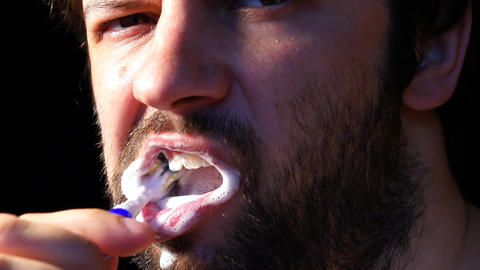 Stock Footage Man Brushing His Teeth Slow Motion 240 Fps Footage