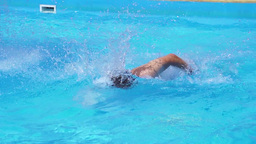 Man Is Swimming In The Pool slow motion Footage