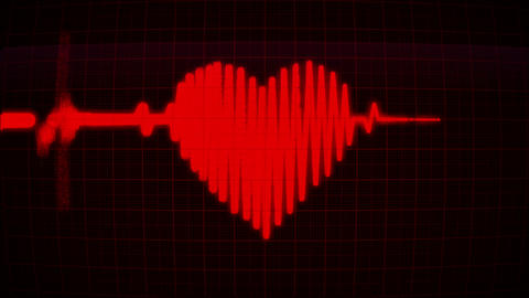 Heartbeat with valentine heart at the red monitor, loop Animation
