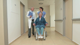 Nurse Pushing Senior In Wheelchair With Doctor In Hospital Hallway stock footage