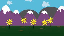 Cartoon animation of a garden Footage