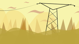 Cartoon animation of power lines in the wilderness Footage