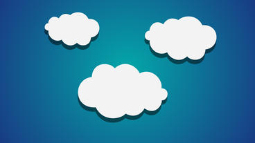 Three cartoon Clouds popup animation on blue background After Effects Template