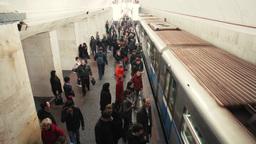 subway train passengers crowd time lapse Footage
