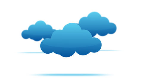 cartoon clouds motion graphic on white background - 2