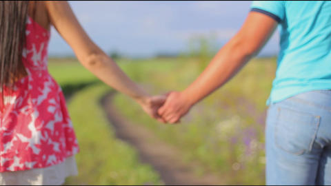 lovers walk holding hands on the blossoming field Footage