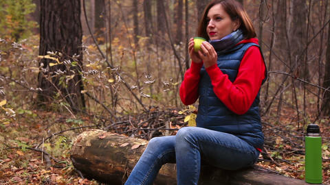 Hot Tea In The Autumn Forest stock footage