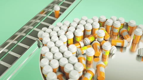Pills and drugs production line and choosing right one Animation